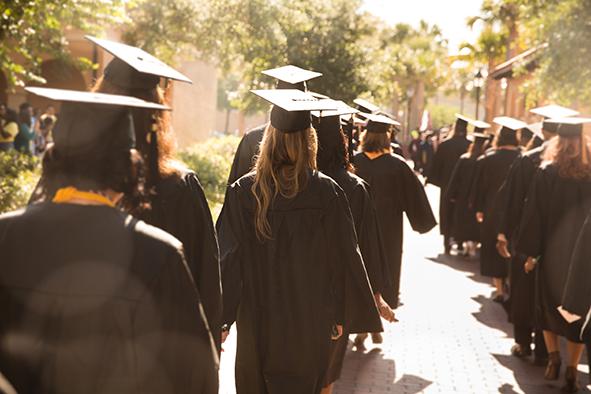 Graduates walking