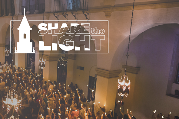 share the light, rollins college chapel with everyone holding candles